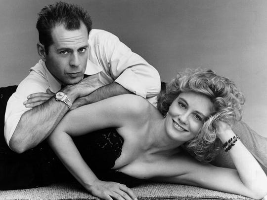 'Moonlighting' fans were drawn to the sexual tension between detective agency partners played by Bruce Willis, left, and Cybill Shepherd.