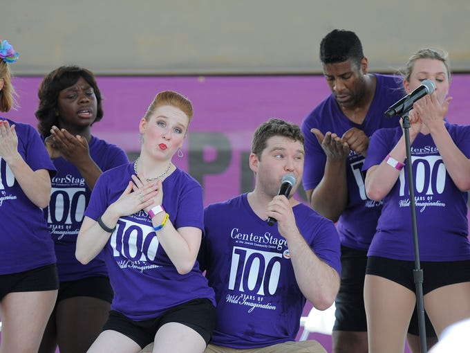 Center Stage, of the Jewish Community Center, performs at the Kentuckiana Pride Festival on Saturday at the Belvedere. By David Lee Hartlage, Special to the C-J.