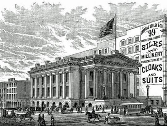 The old post office and custom house building stood