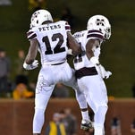 Mississippi State's Jamal Peters (12) was part of an impressive class in the secondary last year for the Bulldogs.