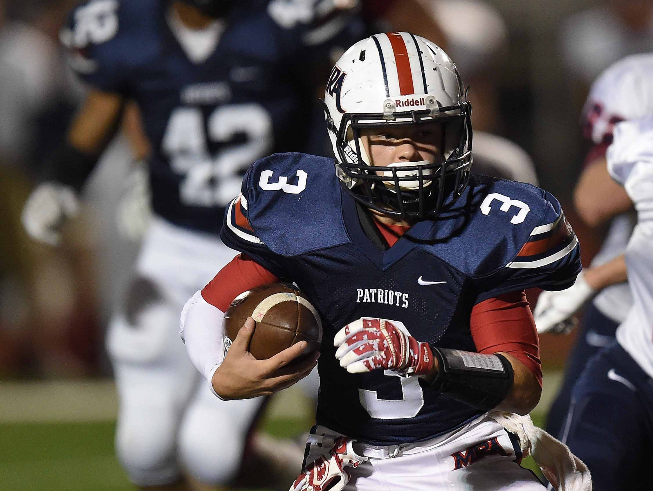 MRA's Karter Bounds (3) runs the ball against Lamar on Friday, October 30, 2015, at Madison-Ridgeland Academy in Madison, Miss.