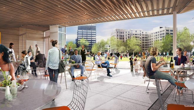 Rendering shows the restaurant planned as part of the new park from DTE Energy in downtown Detroit. The LePage family will run the culinary operations throughout the park.