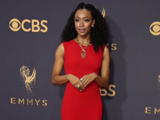 On Sep 17, Sonequa Martin-Green arrives on the red carpet at the 69th Emmy Awards at the Microsoft Theater in Los Angeles.