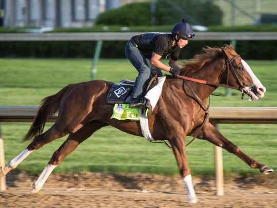 Kentucky Derby hopeful Free Drop Billy puts in a final workout before the race. April 28, 2018.