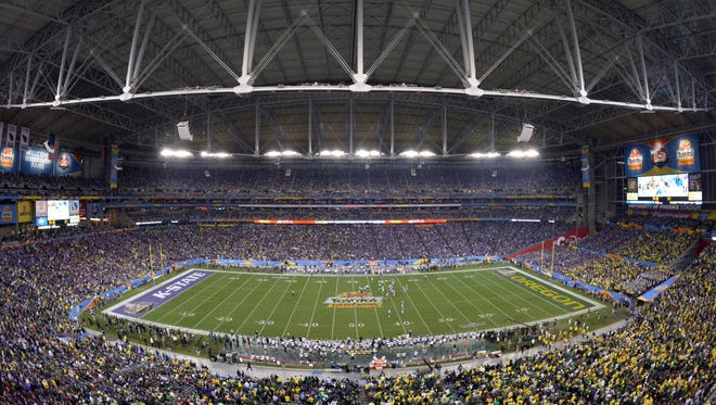 General view of the 2013 Fiesta Bowl between the Oregon Ducks and the Kansas State Wildcats at University of Phoenix Stadium on Jan. 3, 2013.
