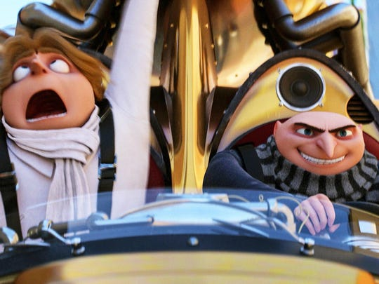 """In """"Despicable Me 3,"""" the villainous Gru, right, discovers that he has a twin brother, Dru, left. Both characters are voiced by Steve Carell."""