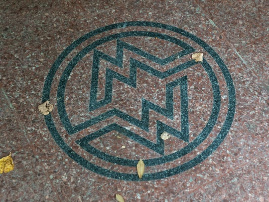 A view of a Montgomery Ward emblem at the Powell Building on West Main Street on Monday, Sept. 18, 2017.