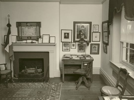 The 1919 Paris Peace Parade Conference Flag on display in the corner of the study at Wilson's Birthplace in Staunton, Virginia. Date unknown.