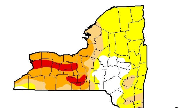The latest data from the U.S. Drought Monitor shows most of the western half of the state is still in a drought, with Ithaca and Schuyler County affected most.