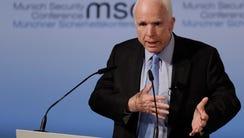Sen. John McCain, R-Ariz., speaks during the Munich