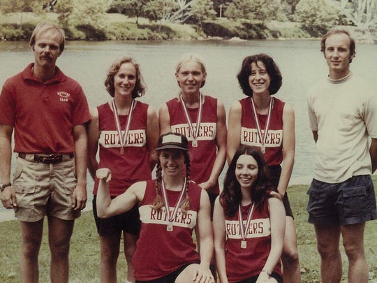 The 1977 Rutgers women's rowing poses at the Lightweight Nationals, in its first season at the varsity level after beginning as a club sport in 1974.