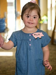 Millie Holley, 4, arrives for a fun-filled day of activities.