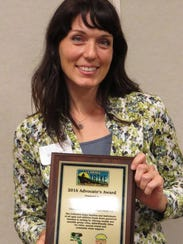 Erica Puckett receives the 2016 Bike Advocate of the