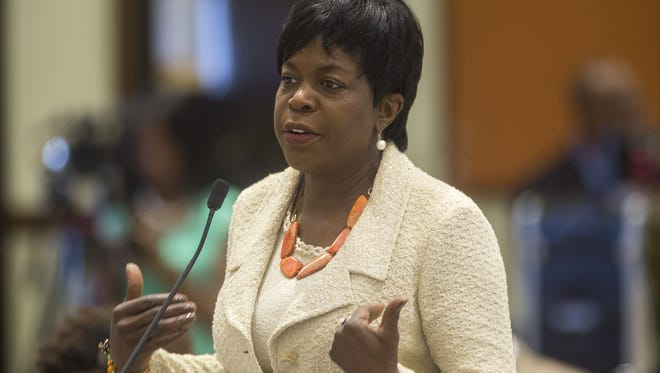 President Elmira Mangum speaks during a FAMU BOT meeting on campus