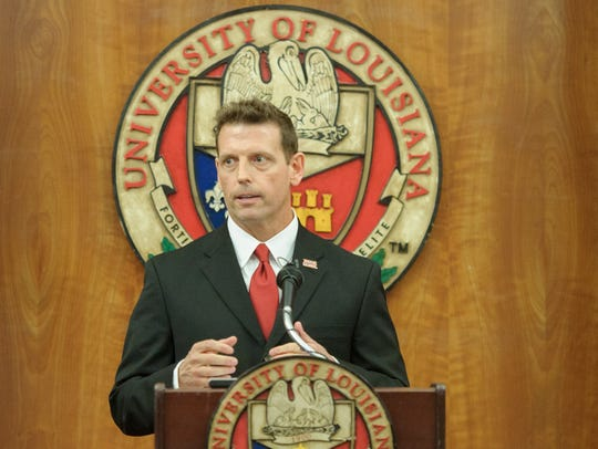 Bryan Maggard, introduced as UL's new athletic director