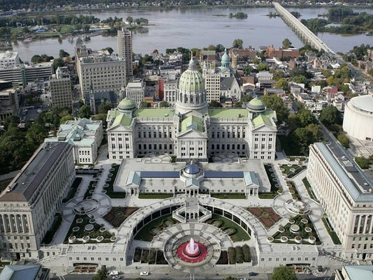 Image: Aerial of the Capitol in Harrisburg, Pa.