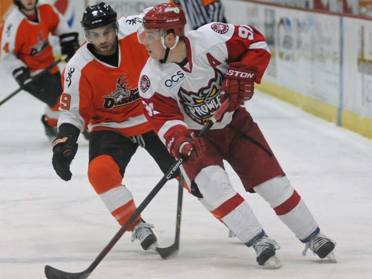Port Huron forward Justin Alonzo moves the puck Sunday, April 3, during the Prowlers final regular season home game against the Danville Dashers at McMorran Arena this season.