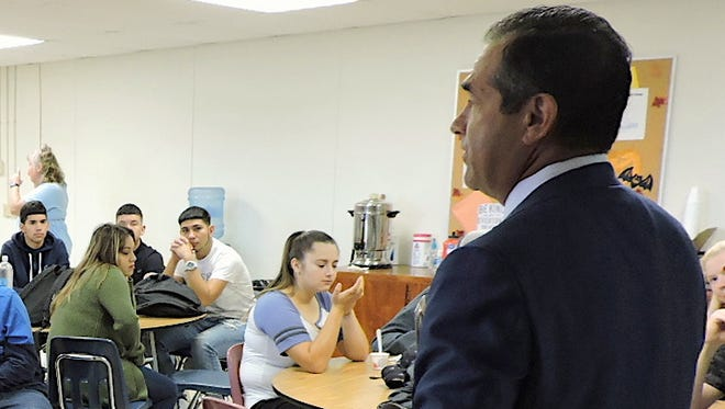 Deming native Mike Herrera inspires students at Mimbres Valley High School.