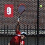 Richmond's Logan Mayer hits during Saturday's semistate at Center Grove.