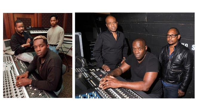 At left is an April 1989 Free Press photo of Juan Atkins, Kevin Saunderson and Derrick May at the KMS studio. At right is a Free Press photo of the three 28 years later, on Friday, May 26, 2017 in Detroit.