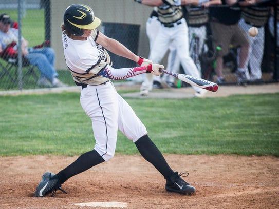 Daleville's Ryan Hale hits a homerun against Wes-Del