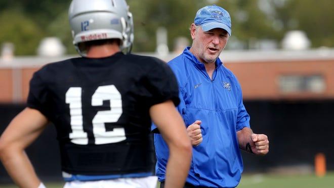 MTSU offensive coordinator Tony Franklin instructs quarterback Brent Stockstill during a practice. MTSU faces Vanderbilt on Saturday.