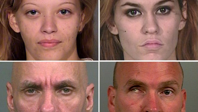 Hayley Navarra, 21 (top left); Kristy Mae Sanchez, 22; Walter Burnell, 47 (bottom left); and Jacob Rodemich, 43, were found dead Thursday night in a  house in the 3400 block of South Parker Avenue.