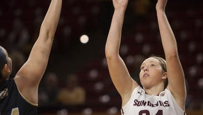 Sophomore forward Kelsey Moos is trying to stay healthy and become more of an offensive threat for No. 10 ASU women's basketball.