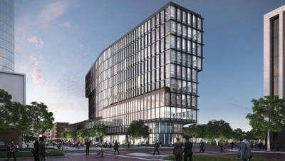 The proposed Cummins Inc. downtown 10-story office tower plans to include greenspace to be built on 4 acres where Market Square Arena previously stood.