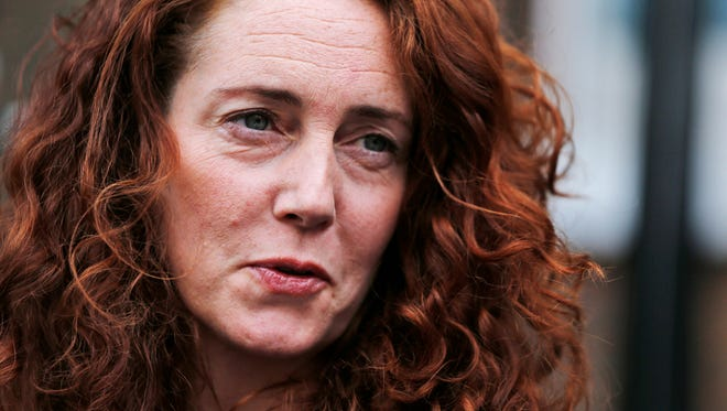 Rebekah Brooks, former News International chief executive, talks to members of the media in central London, Thursday, June 26, 2014.  (AP Photo/Lefteris Pitarakis)