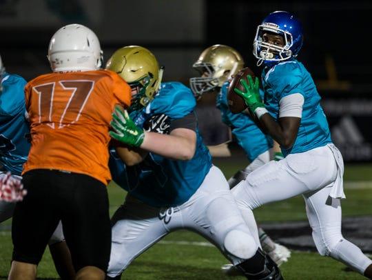 Georgia Football League quarterback Chad Mascoe looks