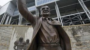 The statue of late football coach Joe Paterno was removed in 2012. That was after his former assistant coach, Jerry Sandusky, was convicted of child sexual abuse.