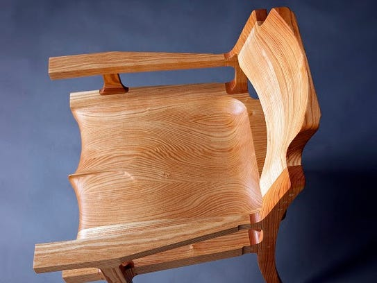 Wooden chair by Michael Doerr, one of the artists taking