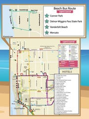Beach bus route in North Naples.
