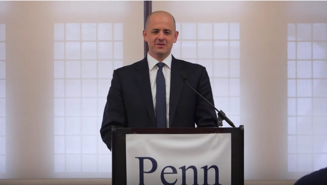 A screengrab from a YouTube video of a speech Evan McMullin gave at Penn in Washington in May 2016.