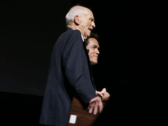 Ernie Harwell and Mitch Albom discuss faith at the Fox Theatre during a book launch.