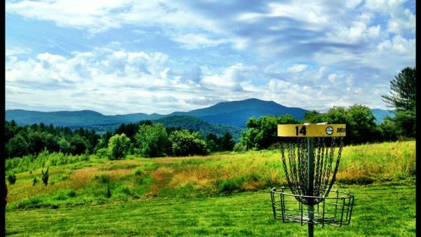 A disc golf basket on the course in Burke.