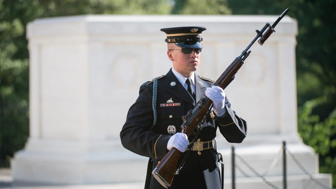 Changing of the guard at The Tomb of the Unknown Soldier at Arlington National Cemetery.