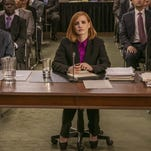 """Jessica Chastain, center, stars a high-powered lobbyist in the drama """"Miss Sloane."""""""