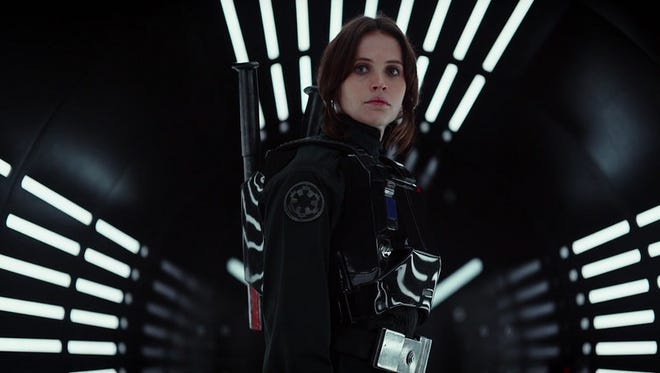 """""""Rogue One,"""" the first side-story Star Wars spin-off movie of the Disney franchise, stars Felicity Jones as Jyn Erso."""