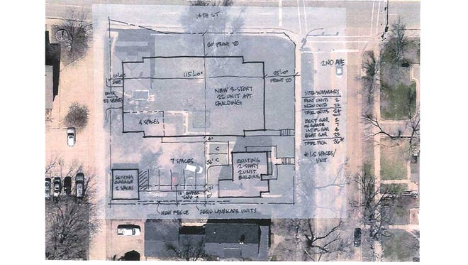 Drawings filed with City Hall show plans for a new apartment building near downtown Sioux Falls.