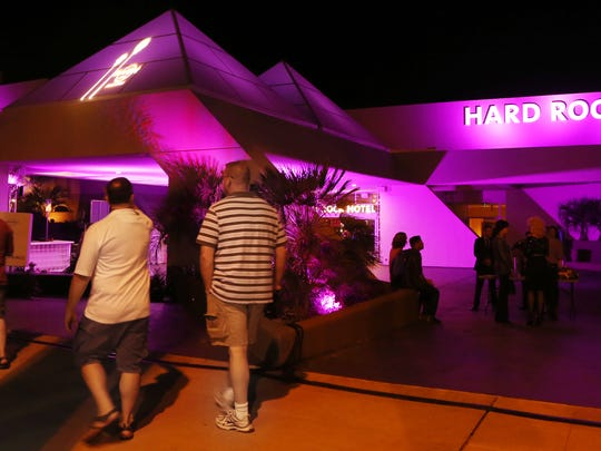 The exterior of the Hard Rock Hotel Palm Springs is bathed in purplish light during an invitation only opening night party in October 2013. The hotel now has turntables and vinyl LPs available for guests.