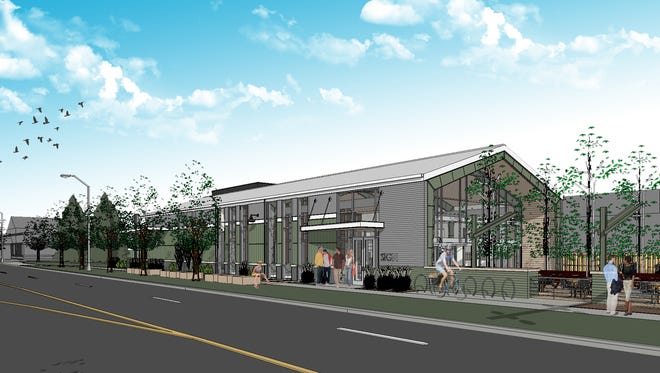 A rendering of a proposed restaurant built at Jefferson Park at the corner of Jefferson and Linden streets,