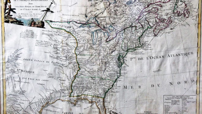 Fond du Lac resident Herman Bender owns this 1785 copy of  a French-made map of the new Etats-Uni, the United States.