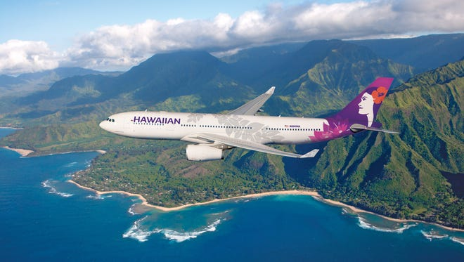 In an image provided by the airline, Hawaiian Airlines showed what its new livery would look like on one of its Airbus A330 aircraft.