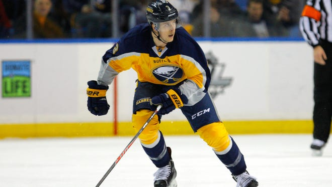 Buffalo Sabres defenseman Mark Pysyk plays against the Detroit Red Wings at First Niagara Center.
