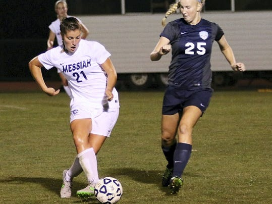 Ally Reinhardt of Chambersburg (21) has become a strong second option for scoring for the Messiah College women's soccer team. The Falcons are 10-0-2.