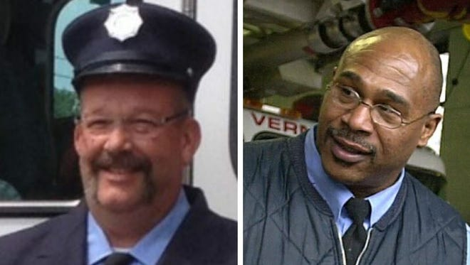 Peekskill firefighter Kevin Bristol, left, and Mount Vernon firefighter Kevin Townes Sr., being honored at the New York State Fallen Firefighters Memorial Ceremony, Oct. 6, 2015. Bristol died in 2014 and Townes in 2011.