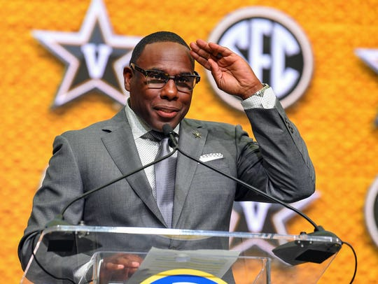 Vanderbilt football coach Derek Mason addresses the media during SEC football media day on July 19, 2018.