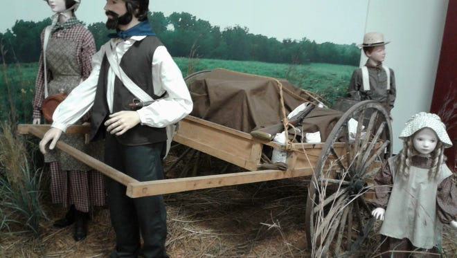 This life-size handcart display can be scene at the Johnson County Historical Society Museum at River Landing.